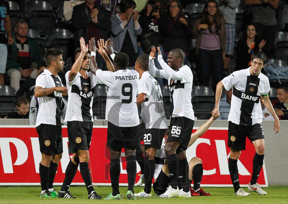 Estadio da Madeira, Liga Europa.Nacional vs FH Hafnarfjordur.Equipa do Nacional festeja 2º golo.Foto Gregorio Cunha