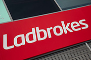 Sign for the gambling brand Ladbrokes in Birmingham, United Kingdom.