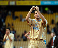 Photo: Jed Wee.<br />Bradford City v Bristol City. Coca Cola League 1. 18/02/2006.<br />Bristol's Bradley Orr celebrates a gritty draw with the fans at the end.