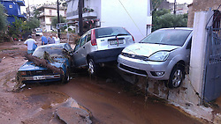 ATHENS, Sept. 7, 2016 (Xinhua) -- Vehicles are seen piled together by flood in Kalamata city, some 240 kilometers south of Athens, Greece, Sept. 7, 2016. Heavy rain hit southern Greece, causing a flash flood which killed a 63-year-old woman in a village, according to the local fire brigade. (Xinhua/Marios Lolos)(yk) (Credit Image: © Marios Lolos/Xinhua via ZUMA Wire)