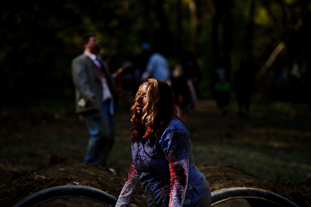 Photo by Matt Roth..during the Run For Your Lives zombie 5k in Darlington, MD at Rablewood Saturday, October 22, 2011. The event is a zombie infested 5k obstacle course. Almost 10,000 participants and spectators showed up for the sold out event which raises money for the American Red Cross.