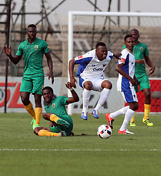 Danny Phiri of Golden Arrows tackling Andile Mbenyane of Chippa United during the 2016 Premier Soccer League match between Golden Arrows and Chippa United held at the Princess Magogo Stadium in Durban, South Africa on the 15th October 2016<br /> <br /> Photo by:   Steve Haag / Real Time Images