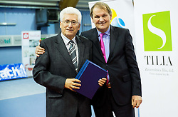and Marko Umberger, president of TZS at Tennis exhibition day and Slovenian Tennis personality of the year 2013 annual awards presented by Slovene Tennis Association TZS, on December 21, 2013 in BTC City, TC Millenium, Ljubljana, Slovenia.  Photo by Vid Ponikvar / Sportida