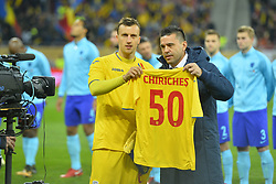 November 14, 2017 - Bucharest, Romania - Vlad Chiriches celebrating hos 50th match for the Romanian national team with Romania's coach Cosmin Contra before the International Friendly match between Romania and Netherlands at National Arena Stadium in Bucharest, Romania, on 14 november 2017. (Credit Image: © Alex Nicodim/NurPhoto via ZUMA Press)