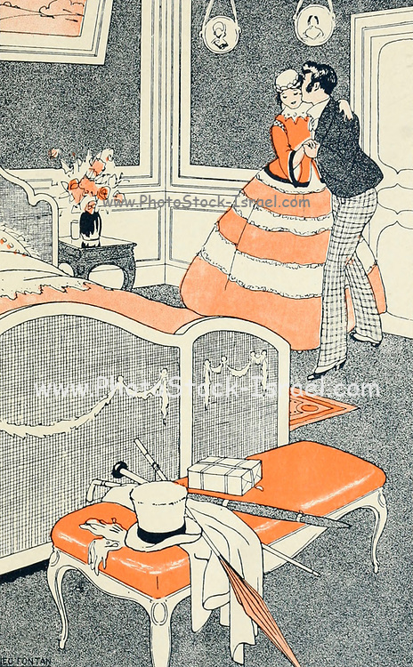 The funny bed Illustration from L'initiation amoureuse [Love Intentions] by Sonolet, Louis, 1874-1928 Published in Paris in 1911