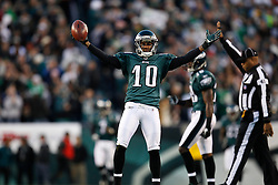 Philadelphia Eagles wide receiver DeSean Jackson #10 reacts after a play during the NFL Game between the Indianapolis Colts and the Philadelphia Eagles. The Eagles won 26-24 at Lincoln Financial Field in Philadelphia, Pennsylvania on Sunday November 7th 2010. (Photo By Brian Garfinkel)
