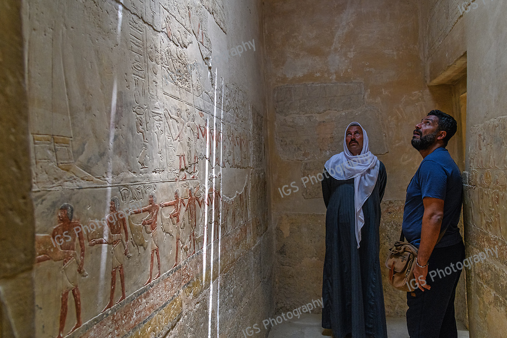 Colorful reliefs on the walls of the Mereruka  and Kagemni tombs - North of the Teti Pyramid,at the Saqqara necropolis for the Ancient Egyptian capital,of  Memphis,