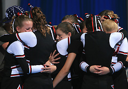 Burghausen Magic, Germany (8th place) waiting during final ceremony at second day of European Cheerleading Championship 2008, on July 6, 2008, in Arena Tivoli, Ljubljana, Slovenia. (Photo by Vid Ponikvar / Sportal Images).