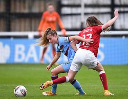 Lois Joel of West Ham United Women is challenged by Emma Bissell of Bristol City Women - Mandatory by-line: Ryan Hiscott/JMP - 13/12/2020 - FOOTBALL - Twerton Park - Bath, England - Bristol City Women v West Ham United Women - Barclays FA Women's Super League
