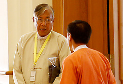Presidential candidate U Htin Kyaw (L) of the National League for Democracy (NLD) arrives at the Union Parliament in Nay Pyi Taw, Myanmar, March 15, 2016. U Htin Kyaw from National League for Democracy (NLD) was elected as new president of Myanmar. EXPA Pictures © 2016, PhotoCredit: EXPA/ Photoshot/ U Aung<br /> <br /> *****ATTENTION - for AUT, SLO, CRO, SRB, BIH, MAZ, SUI only*****