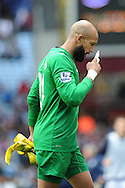 Everton keeper Tim Howard walks off.  Barclays Premier League, Aston Villa v Everton at Villa Park in Aston, Birmingham on Saturday 26th Oct 2013. pic by Andrew Orchard, Andrew Orchard sports photography,