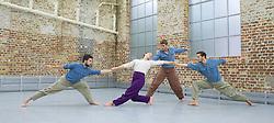 Balletboyz<br /> studio rehearsal for 'Young Men' at the BalletBoyz dance studio in Kingston, Surrey, Great Britain <br /> 16th September 2015 <br /> <br /> performed in costume :<br /> l to r: <br /> Marc Galvez<br /> Jennifer White <br /> Edward Pearce<br /> Bradley Waller <br /> <br /> <br /> <br /> 'YOUNG MEN' <br /> Press nights:  October 6th and 7th 2015 at Sadler's Wells, London.<br /> <br /> <br /> <br /> Directors/Producers:  Michael Nunn and William Trevitt<br /> Choreography:   Iván Pérez<br /> <br /> Photograph by Elliott Franks <br /> Image licensed to Elliott Franks Photography Services