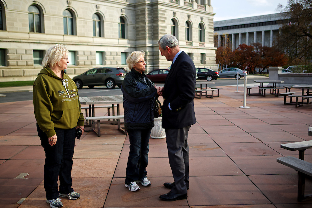 Rep.-elect Rick Nolan, D-Minn., runs in to two of his constituents, Karen Moller, left, and Lynn Burdges on Nov. 15, 2012 in front of the Library of Congress in Washington, D.C. Nolan arrived in Washington, D.C. this week to register for orientation. He served three terms in Congress from 1975 until 1980 in Minnesota's 6th disrict.
