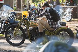 Nick Pencil takes off on his custom Harley-Davidson Panhead from the Cycle Source Magazine show at the Broken Spoke Saloon during Daytona Beach Bike Week. FL. USA. Tuesday, March 14, 2017. Photography ©2017 Michael Lichter.