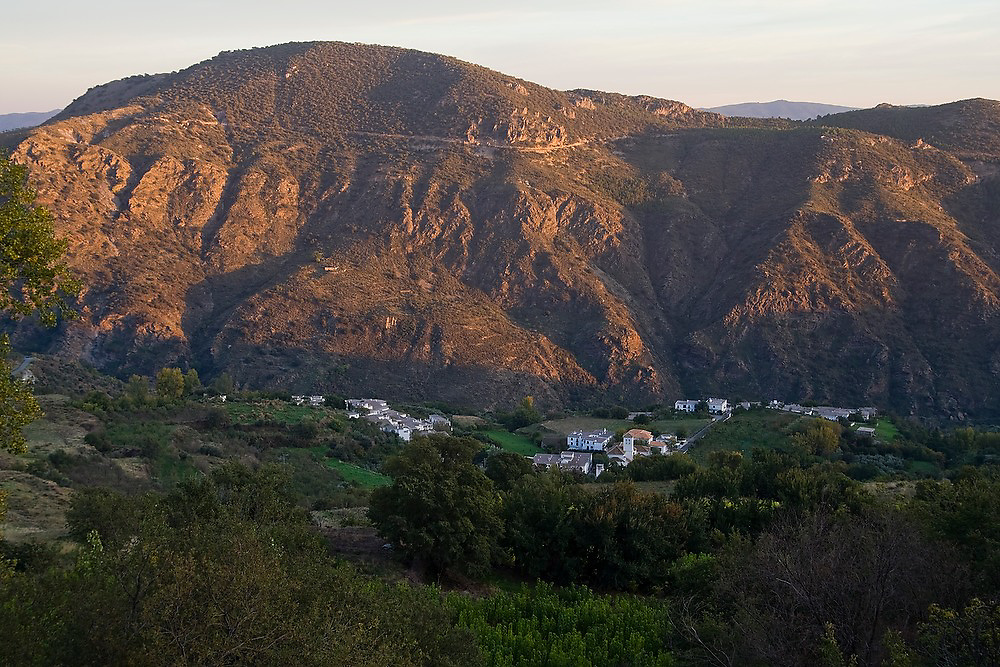View at sunset of the small towns of Mecina and Fondales in Las Alpujarras, Andalusia, Spain.