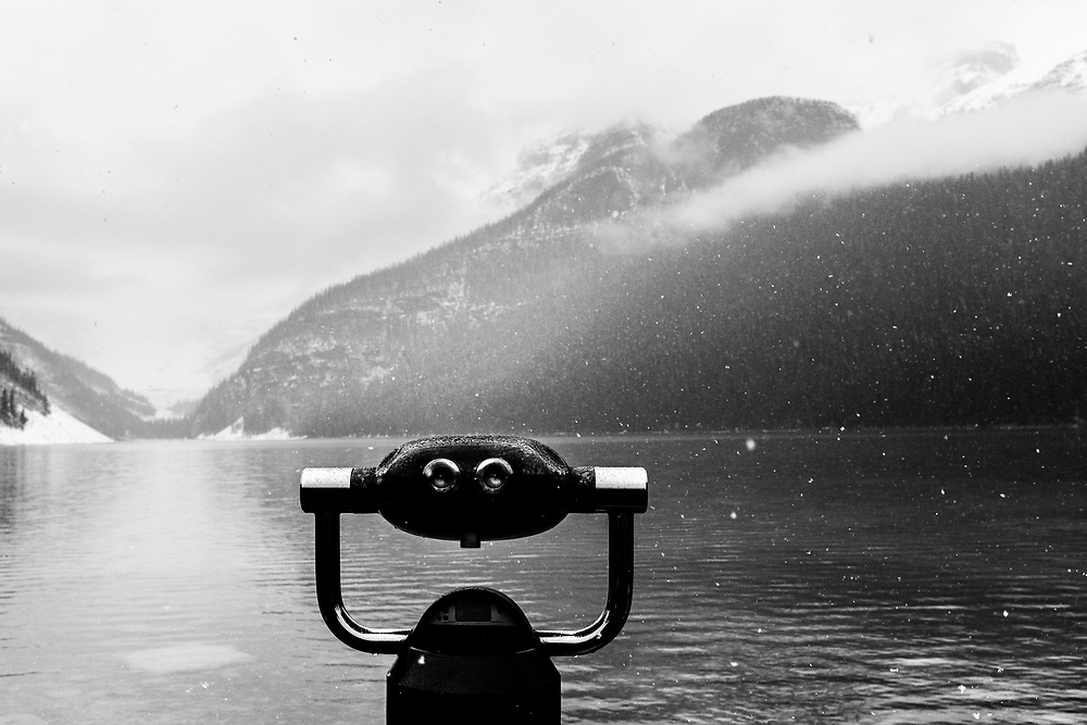 Lake Louise, Alberta, Banff National Park in the Canadian Rockies during a snowstorm.
