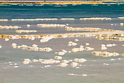 Crystallized salt rocks along the shores of the Dead Sea, Israel.