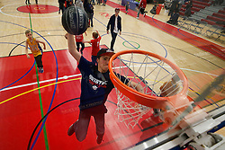 A young fan dunks after the match - Photo mandatory by-line: Rogan Thomson/JMP - 07966 386802 - 13/02/2015 - SPORT - BASKETBALL - Bristol, England - SGS Wise Arena - Bristol Flyers v Surrey United - BBL Championship.