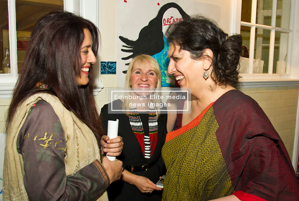 Pictured: Anila Mirza (SNP Team leader) and candidate Mriduz Wadhwa<br /> <br /> Mriduz Wadhwa and Ian Campbell, SNP candidates for two of the four council places for the Craigentinny/Duddingston ward were on hand when Nicola Sturgeon viisted  Shakti Women's Aid today in Leith<br /> <br /> Ger Harley | EEm 25 April 2017