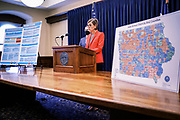 30 JULY 2020 - DES MOINES, IOWA: at the State Capitol in Des Moines. Gov. Reynolds stressed the importance of in person education but laid out the guidelines under which Iowa would allow on line instruction. She said that Iowa schools would have to see a coronavirus (SARS-CoV-2) positivity rate of at least 15% in the county where they are located before they could request to transition a school building or district to fully online learning. Many Iowa teachers and students object to the Governor's insistence on in person education, saying it is to dangerous and the risk of COVID-19 infection too high to force schools to reopen.   PHOTO BY JACK KURTZ
