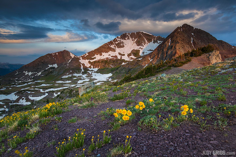 Ruby Peak and Mount Owen at sunrise from Scarp RIdge outside of Crested Butte, Colorado