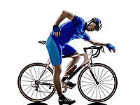 cyclist tired in silhouette on white background