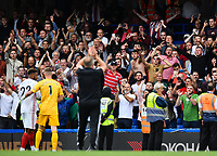 Football - 2019 / 2020 Premier League - Chelsea vs. Sheffield United<br /> <br /> Sheffield United manager Chris Wilder (foreground) applauds the supporters at the final whistle, at Stamford Bridge.<br /> <br /> COLORSPORT/ASHLEY WESTERN