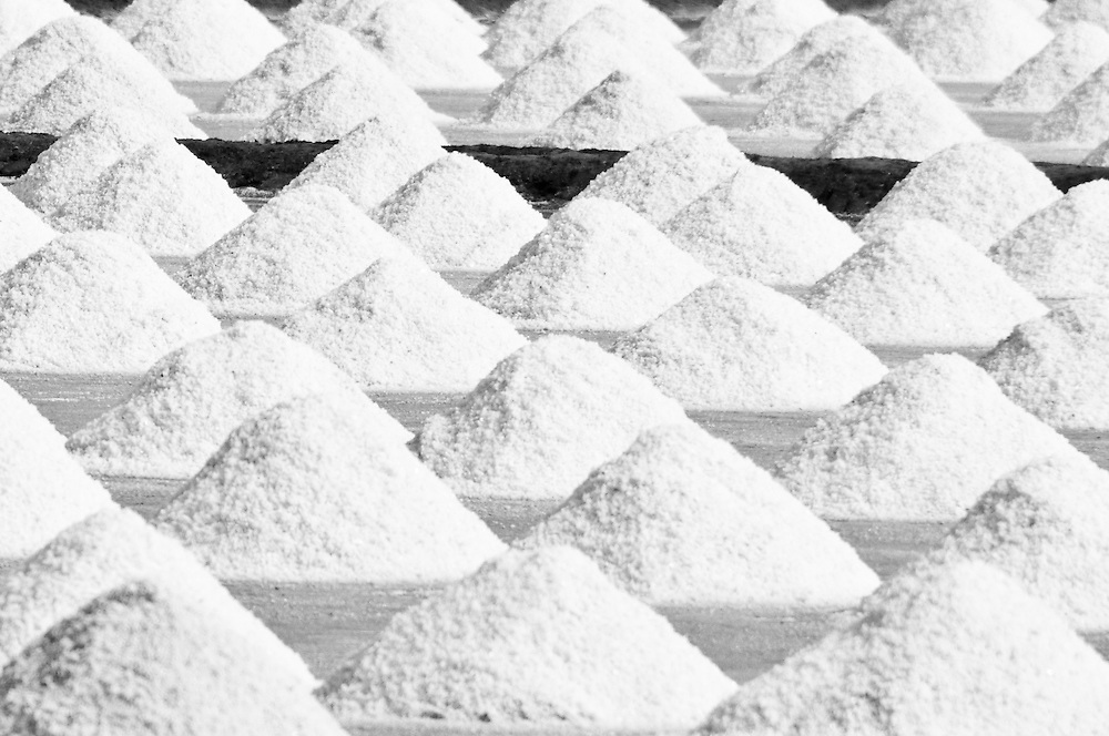 Salt piled to dry in Pak Thale, Thailand.