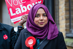 © Licensed to London News Pictures. 16/11/2019. London, UK. Apsana Begum, the Labour Party Prospective Parliamentary Candidate for Poplar and Limehouse ward, seen campaigning with supporters for the upcoming general election in Wapping, east London. Photo credit: Vickie Flores/LNP