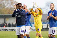 Jamal Lowe of Portsmouth applauds the fans after their 4-0 win over Maidenhead United during the The FA Cup 1st round match between Maidenhead United and Portsmouth at York Road, Maidenhead, United Kingdom on 10 November 2018.