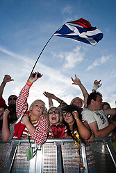 Fans of Jamie T on the NME stage, Friday at T in the Park 2010..Pic ©2010 Michael Schofield. All Rights Reserved.