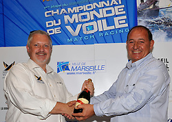 Jim O'toole, the World Match Racing Tour CEO, and Christian Tommasini, the President of the Yachting Pointe Rouge celebrate Match Race France winning the most improved WMRT event 2010. Photo:Chris Davies/WMRT
