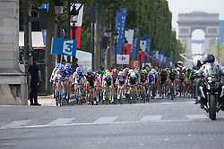UnitedHealthcare Cycling Team leads the chase during the La Course, a 89 km road race in Paris on July 24, 2016 in France.