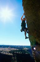 Man rock climbing at Smith Rock State Park Oregon USA&#xA;<br />