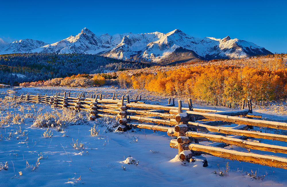 An overnight autumn storm in the San Juan Mountains left a fresh blanket of snow on the Double RL Ranch.