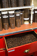 Coffee of all varieties at Algerian Coffee Stores on 7th October 2015 In London, United Kingdom. Algerian Coffee Stores along Old Compton Street in Soho. The store has been open since 1887 selling coffees and teas