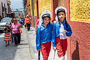 Young children in costumes walk together after the children's parade celebrating Mexican Independence Day celebrations September 17, 2017 in San Miguel de Allende, Mexico.