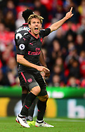 Nacho Monreal of Arsenal reacts as he appeals for a corner. Premier league match, Stoke City v Arsenal at the Bet365 Stadium in Stoke on Trent, Staffs on Saturday 19th August 2017.<br /> pic by Bradley Collyer, Andrew Orchard sports photography.