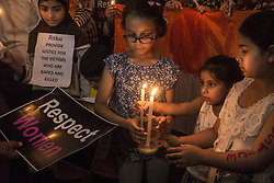 April 17, 2018  - Kolkata, India - Children participate in a candle light march to protest against the rape and murder of eight-year-old girl Asifa. (Credit Image: © Tumpa Mondal/Xinhua via ZUMA Wire)