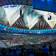 Fireworks exploded on the roof of Maracana Stadium during the Opening Ceremonies of the 2016 Summer Olympics Games in Rio de Janeiro, Brazil.