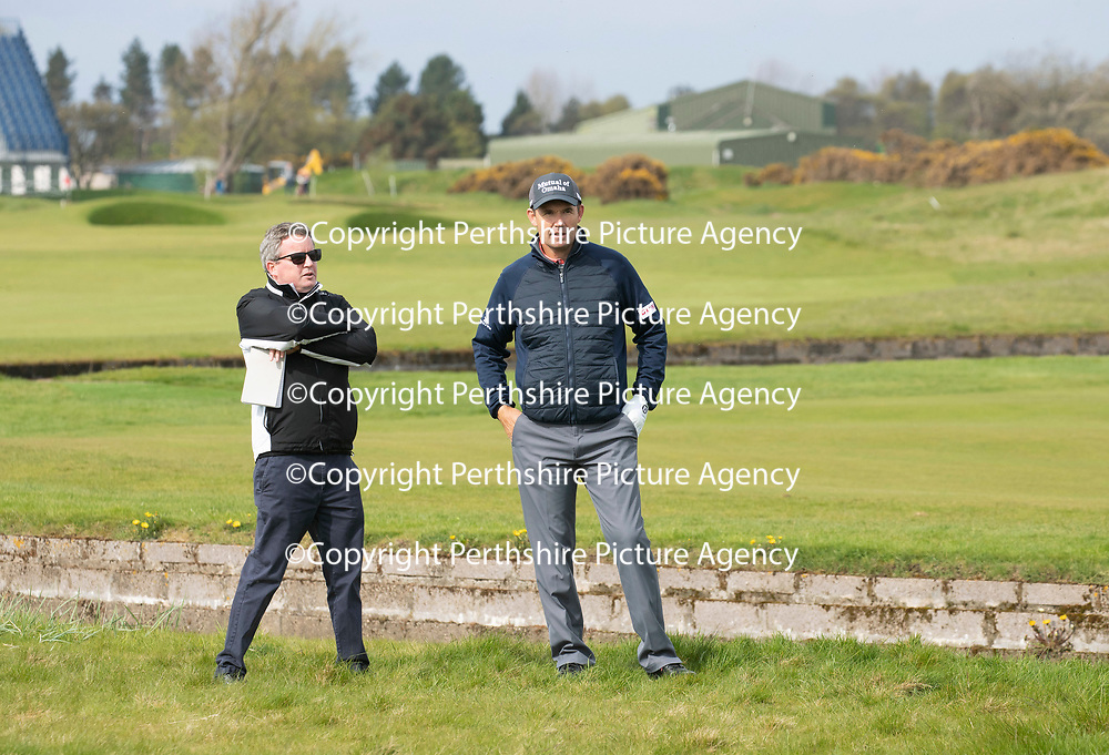 Padraig Harrington Returns to Carnoustie…09.05.18<br />Golfer Padraig Harrington returned to Carnoustie to play the four play off holes that saw him win The Open in 2007. He is pictured being interviewed by Daily Mail's John Greechan on the 18th at the scene of his drop ball<br />Picture by Graeme Hart.<br />Copyright Perthshire Picture Agency<br />Tel: 01738 623350  Mobile: 07990 594431