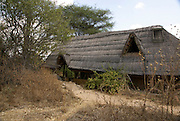 Tanzania wildlife safari thatch covered lodge