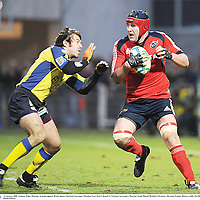 13 January 2008; Anthony Foley, Munster, in action against Brock James, Clermont Auvergne. Heineken Cup, Pool 5, Round 5, Clermont Auvergne v Munster, Stade Marcel Michelin, Clermont - Ferrand, France. Picture credit; Pat Murphy / SPORTSFILE *** Local Caption ***