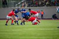 France's Eli Eglaine in action during todays match<br /> <br /> Photographer Bob Bradford/CameraSport<br /> <br /> The 2018 U18 6 Nations Festival - Wales U18 v France U18 - Saturday 31st March 2018 - CCB Centre for Sporting Excellence, Ystrad Mynach Hengoed <br /> <br /> World Copyright © 2018 CameraSport. All rights reserved. 43 Linden Ave. Countesthorpe. Leicester. England. LE8 5PG - Tel: +44 (0) 116 277 4147 - admin@camerasport.com - www.camerasport.com