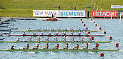 Munich, GERMANY,Women's eights Repechage top BLR, GER 2 GBR and ROM. move of the start, at the FISA world Cup Munich, held on the Olympic Rowing Course, 10/05/2008  [Mandatory Credit Peter Spurrier/ Intersport Images] Rowing Course, Olympic Regatta Rowing Course, Munich, GERMANY