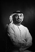 Abdulkareem Al Masabi, Abu Dhabi, VP- Khalifa Port Operations at Abu Dhabi Ports Company, Emirati, Executive, Black Back ground, business portrait, national dress,
