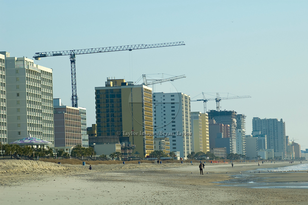 Construction cranes line the Grand Strand in Myrtle Beach, South Carolina.