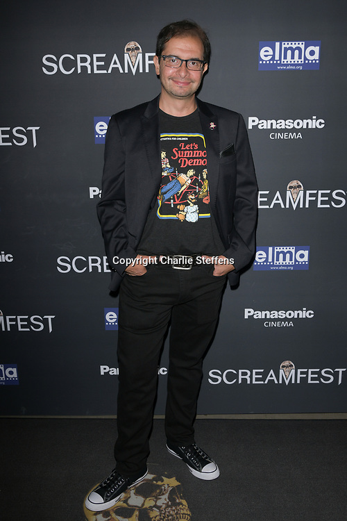 """ALAN TREZZA attends the premiere screening of """"We Summon the Darkness"""" on closing night of the 19th Annual SCREAMFEST Horror Film Festival at TCL Chinese Theatre 6 in Los Angeles, California."""