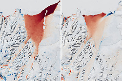 Aug 8, 2002 - Antarctica - Entire Glacier. The shape of the world is hanging by a thread or rather, according to experts, by a 110 mile-long (177km) rift. That's the extent of a rapidly expanding crack in an enormous ice shelf in Antarctica. When the Larsen C shelf finally splits, the largest iceberg ever recorded (bigger than the US state of Rhode Island and a third the size of Wales) will snap off into the ocean. Widening each day by 3 ft (1 m), the groaning cleft is on the verge of dramatically redrawing the southern-most cartography of our planet and is likely to lead, climatologists predict, to an acceleration in the rise of sea levels globally. (Credit Image: © NASA via ZUMA Wire/ZUMAPRESS.com)