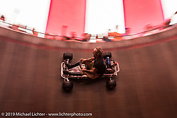 Sargeant Mikey Johnson rides a go-cart up the wall at the Wall of Death on Sunday at the Handbuilt Motorcycle Show. Austin, TX. April 12, 2015.  Photography ©2015 Michael Lichter.